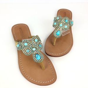 Mystique sandals jeweled thong turquoise